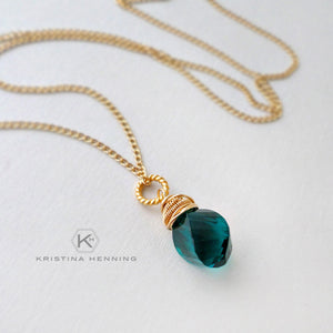 blue green quartz necklace with gold fill