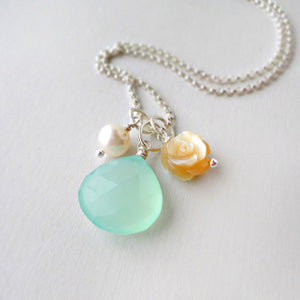 aqua chalcedony necklace with mother of pearl rose and pearl in sterling silver
