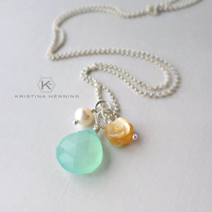 beach inspired jewelry - aqua chalcedony necklace with mother of pearl and silver