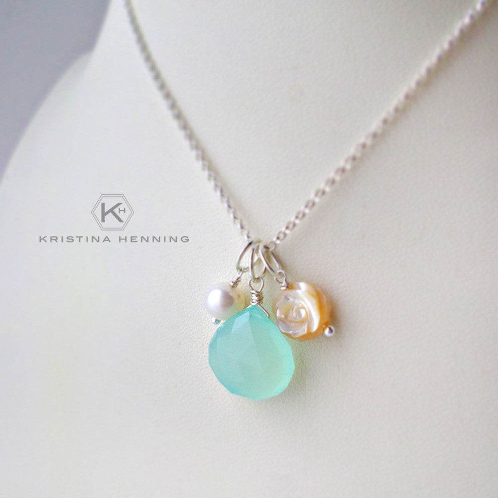 Sterling silver gemstone necklace with chalcedony, mother of pearl and pearl