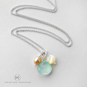 Beach inspired jewelry - aqua chalcedony and silver necklace