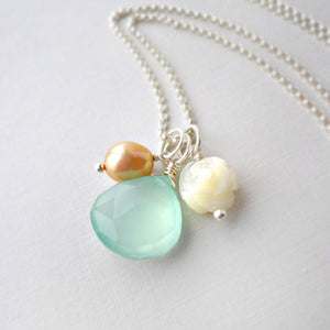 Blue chalcedony necklace in sterling silver with white mother of pearl rose and beige pearl