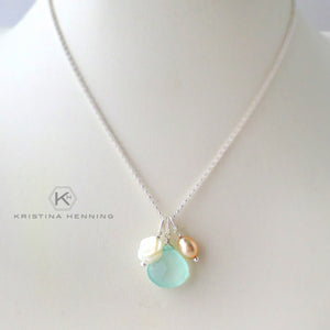 sterling silver necklace with chalcedony, pearl and mother of pearl