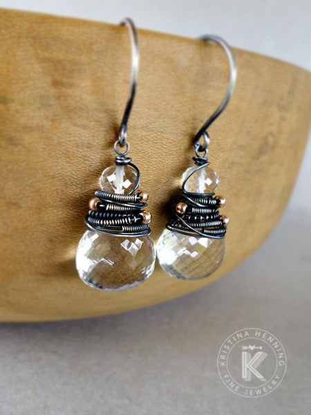 Gemstone drop earrings with clear quartz and black silver