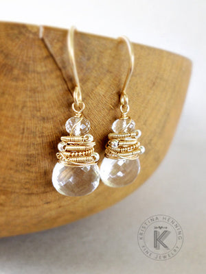 Clear quartz drop earrings in gold