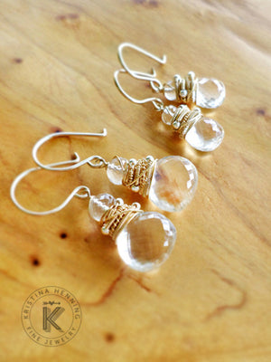 Maura earrings with clear quartz gemstone and gold wire