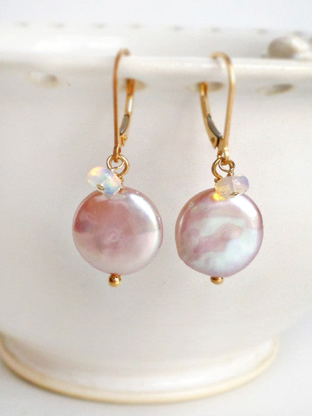 Pearl and opal drop earrings in gold