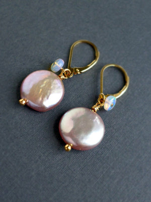 Pearl drop earrings with opals and gold