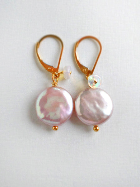 Pink coin pearl earrings in 14k gold with opal
