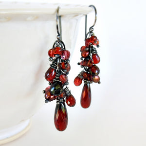 Red garnet and oxidized sterling silver gemstone dangle earrings