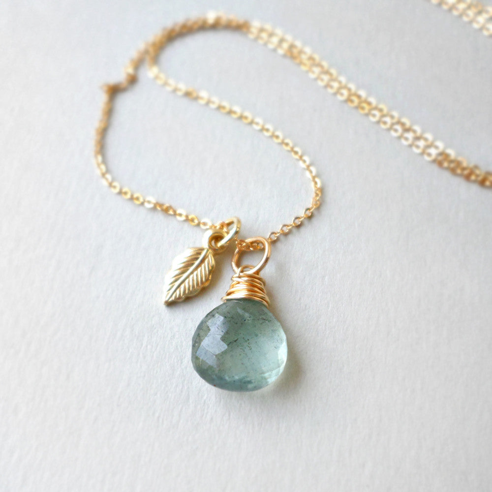 Aquamarine & Gold Leaf Necklace