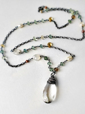 Beach inspired necklace in green, sandy biege and white gemstones