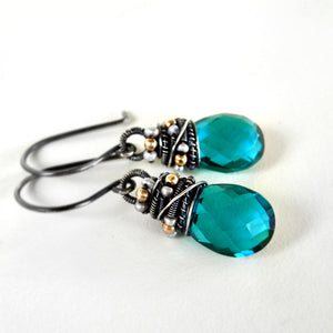 Teal gemstone earring wire wrapped with oxidized silver