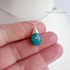 Blue green chrysocolla gemstone necklace in sterling silver