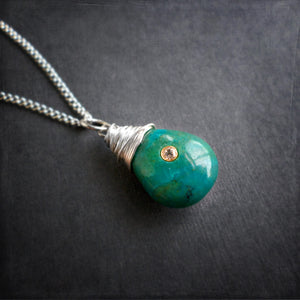 Blue green chrysocolla gemstone pendant necklace in sterling silver
