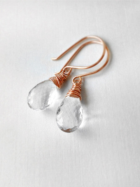 Rock crystal quartz and rose gold drop earrings