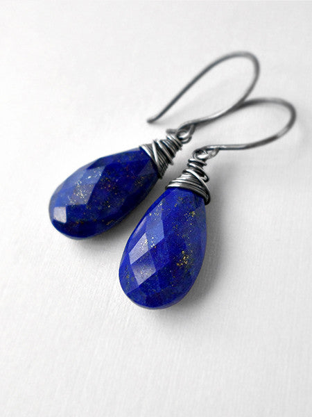 Lapis drop and sterling silver earrings