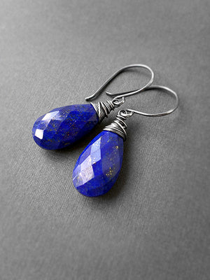 Olivia Earrings in lapis lazuli and silver