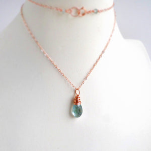 Aquamarine & Rose Gold Necklace
