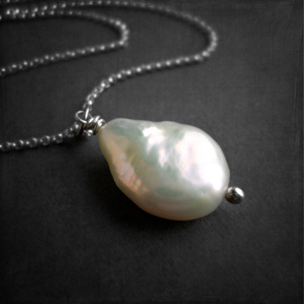 White coin pearl and sterling silver necklace