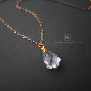 light purple gemstone necklace in rose gold
