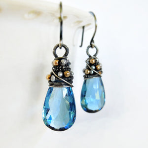 Blue quartz wire wrapped earrings with sterling silver