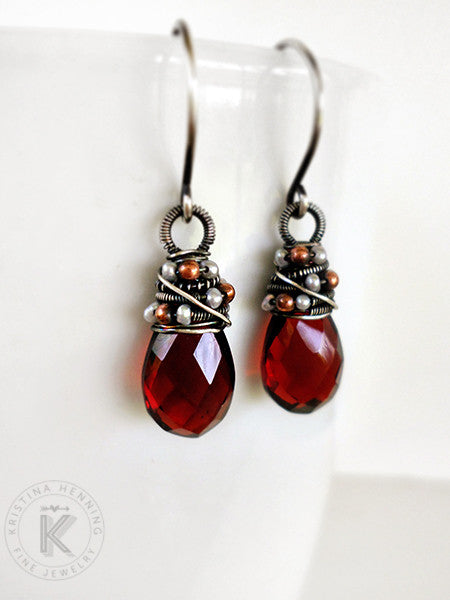 Red quartz gemstone drop earrings with silver wire wrapping
