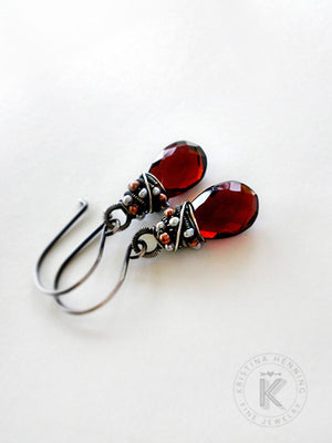 Red gemstone drop earrings with wrapped with silver, pearls and copper
