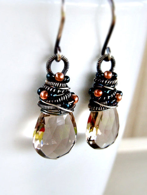 Smoky quartz drop earrings in sterling silver - handcrafted in the USA