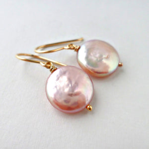 pink coin pearl earrings with gold - june birthstone