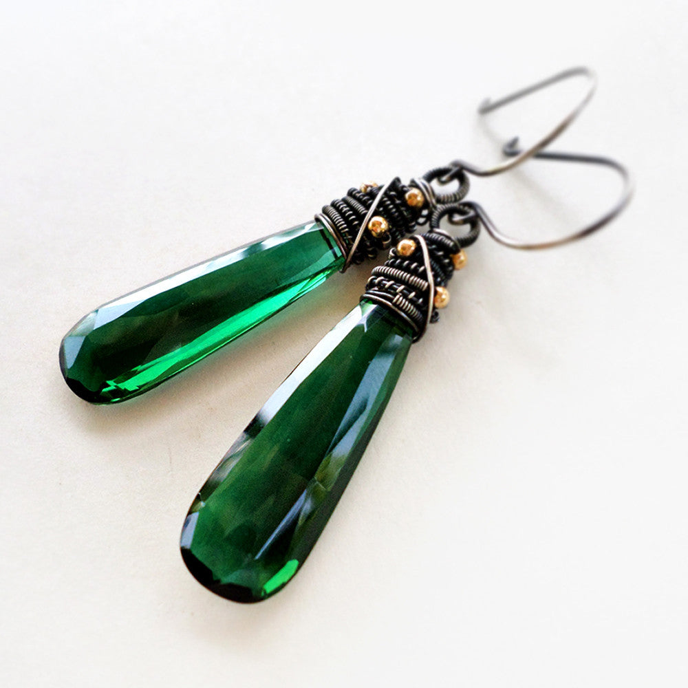 Forest green quartz drop earrings wire wrapped with sterling silver