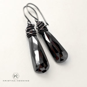 Hematite and sterling silver wrapped stone earrings