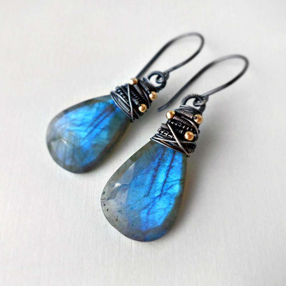 labradorite earrings wire wrapped with sterling silver
