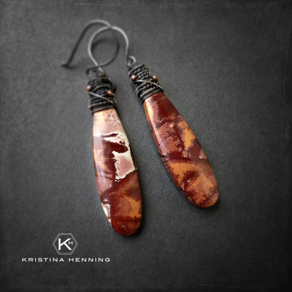 Mauve and maroon jasper wire wrapped drop earrings in oxidized silver