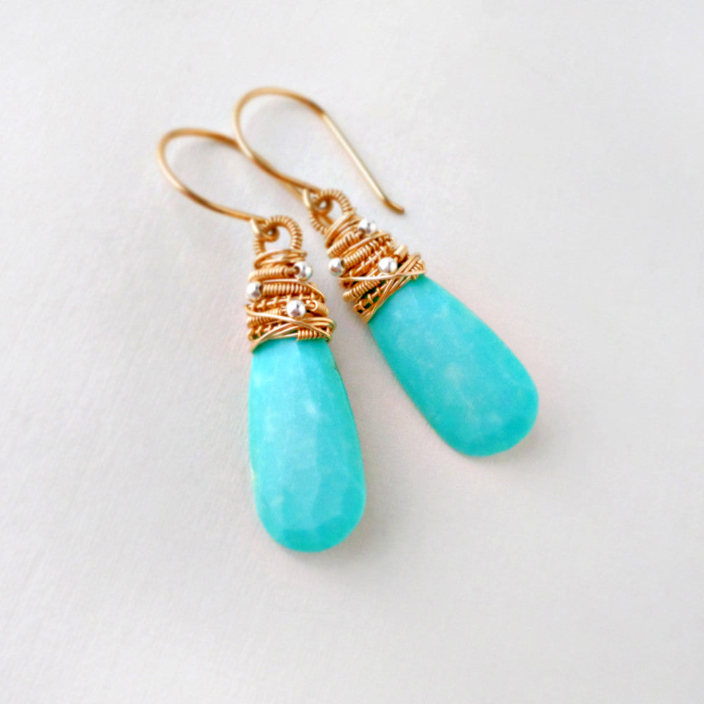 genuine turquoise earrings wire wrapped with gold