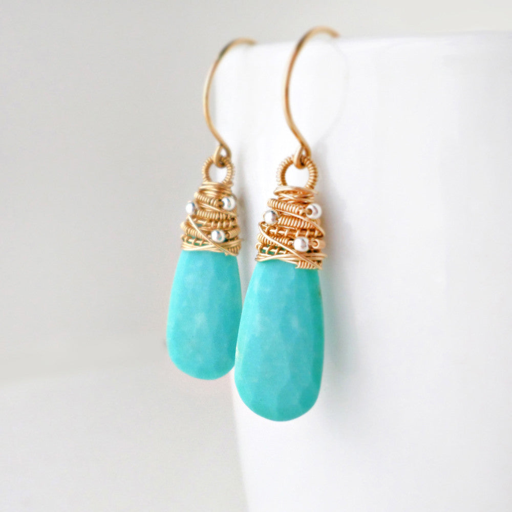 turquoise drop earrings in gold