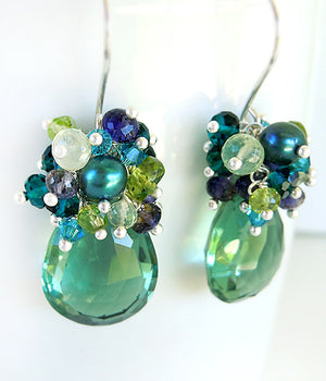 Light teal topaz drop earrings with quartz, iolite, prehnite, silver and pearls