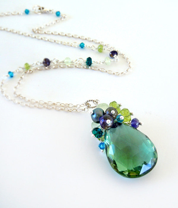 Green Gemstone Pendant Necklace with Peacock Teal Quartz, Blue Iolite, Peridot, Silver