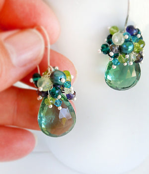 Blue and green gemstone dangle earrings