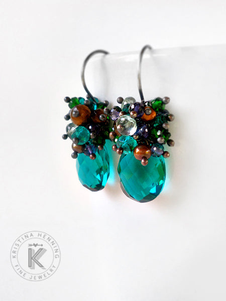 Pretty Palette Earrings in peacock teal, navy blue iolite, emerald green quartz and caramel brown tiger eye
