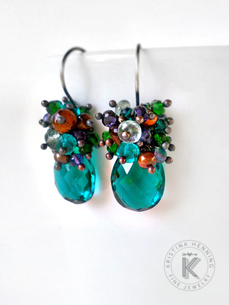 Peacock teal drop gemstone earrings