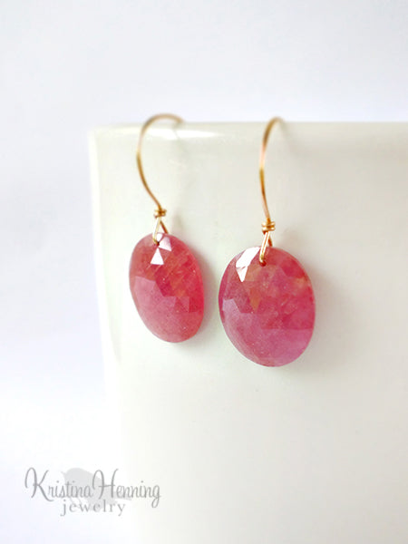 Pink sapphire and gold modern gemstone earrings