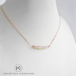 Opal and rose gold necklace - October birthstone jewelry