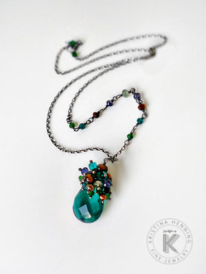 Peacock teal quartz pendant drop necklace on sterling silver and gemstone chain