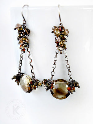 Brown gemstone chandelier earrings with citrine, pyrite and quartz