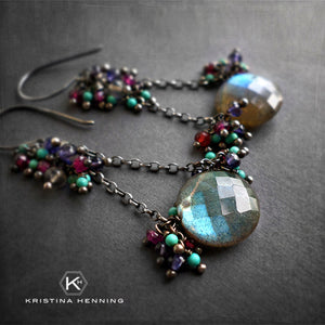 Labradorite, turquoise and pink garnet dangle earrings in silver