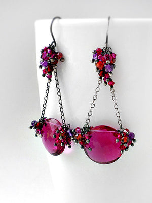 Magenta pink chandelier earrings in silver