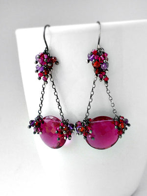 Magenta, purple and red chandelier earrings in silver