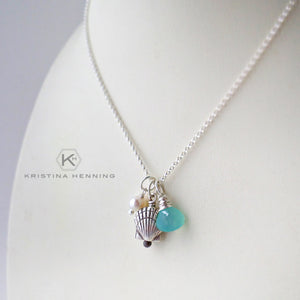 Summer necklace with silver sea shell pendant, chalcedony and pearl