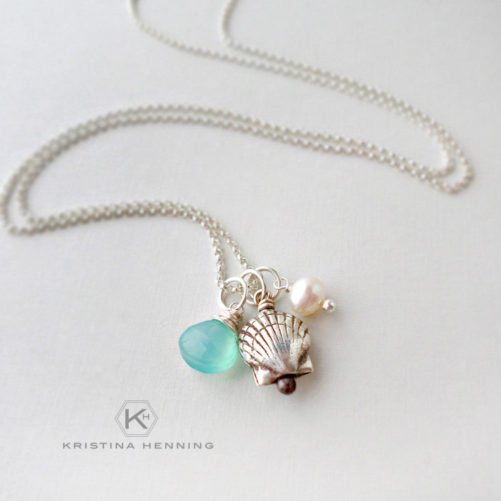 sterling silver sea shell necklace with aqua blue chalcedony and pearl
